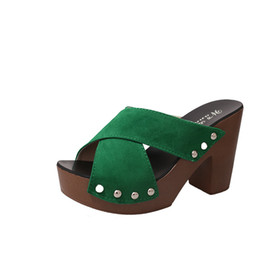 flat head fish Promo Codes - Rubber Clogs Women Slippers Retro Clogs Thick High Heels Rivets Cross Straps Rough With Suede Sandals Pumps Fish Head 3518