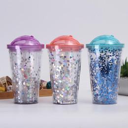 Plastica ps online-Glitter Plastic Cup 5 Colori 450ML AS Double Layer Outdoor Protable Tazze da Paglia Estate Bere Tazza LJJO6866
