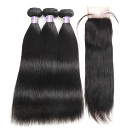 sew machine parts Promo Codes - Brazilian Straight Hair Bundles With Closure Middle Part Sew In Hair Weave With Closure Allove Non Remy Human Hair With Closure