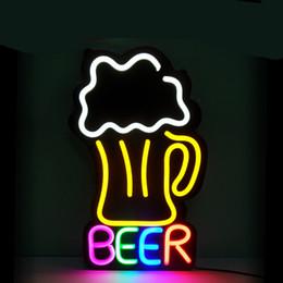 La birra al neon segna la caverna dell'uomo online-neon personalizzato segno della birra LED Flex Neon bar e birreria segno del negozio Beer Bar Pub Cave Man affari Vetro luce della lampada al neon