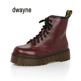 botines negros con cordones Rebajas Dwayne Brand botas de mujer Martens de cuero zapatos de invierno cálido motocicleta para mujer botines Doc Martins otoño mujer Oxfords zapato