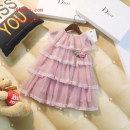 Lycra casual kleider online-2019 Sommerkleid-Babykleidung Blume stickte die Kuchenkinder, die beiläufige Art und Weise kleiden, kleidet Kindkleidungmädchen BD-4