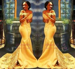 gelbe nigerianische spitze Rabatt African Yellow Mermaid Abendkleider 2019 Off Shoulder Lace Pailletten Satin nigerianischen Abendkleider arabischen Partykleid