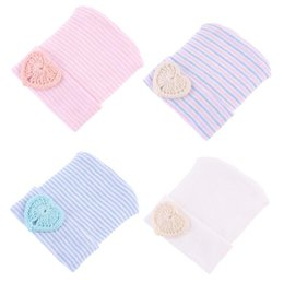 sweet baby knitted hats Promo Codes - Newborn hat Beanies Sweet heart baby knit hats Maternity 2018 Autumn Cotton warm beanie Striped European quality Spring wholesale 0-6months