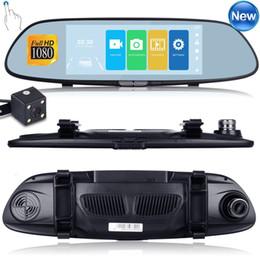 caméras de tableau de bord Promotion HD 1080 P double objectif 7 '' véhicule rétroviseur caméra enregistreur voiture DVR Dash Cam DHL livraison