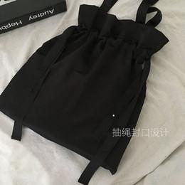 borsa di disegno della borsa Sconti Borsa a tracolla in raso nero dal design semplice con coulisse e design semplice con coulisse Giappone e Corea del Sud