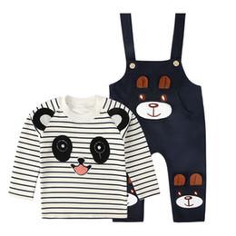 Fatos de treino do bebé cute on-line-BibiCola Bonito Dos Desenhos Animados Do Bebê Infantil Meninos Roupas Definir Panda Listrado T-shirt + Cinto Calças de Manga Comprida Agasalho Menino Conjunto de Roupas