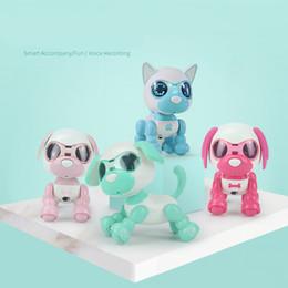 Juguetes inteligentes para perros online-Juguete para mascotas perro robot de juguete del niño niño interactiva SMART Kids perro mascota robótica Caminar regalos Ojos del perrito de sonido de grabación juguetes educativos LED