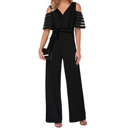 Summer Women High Waist With Cold Shoulders Solid Color Wide Leg Jumpsuit Bodysuit Women Playsuit Rompers Womens Long Trousers от