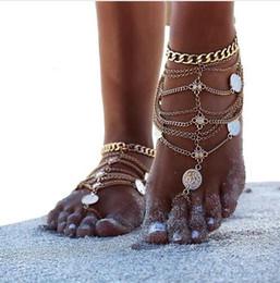 Sandalias sexy de moda online-2019 Nueva Moda de Verano Sexy Borla de plata para el tobillo para las mujeres Moneda Colgante Cadena Pulsera de Tobillo Pie Joyería Barefoot Sandal