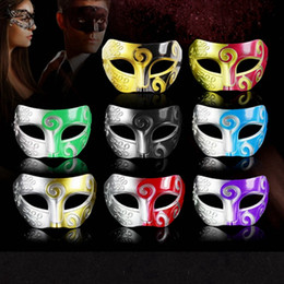 masque romain Promotion Halloween mascarade Masques Rétro Gladiator Roman Halloween Party vénitien danse hommes demi-visage masque Props HHA1387