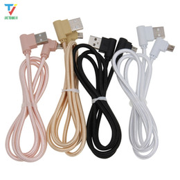 2020 pano micro usb cabo 100 pçs / lote 2side 90 ° L-em forma de pano cabo de dados trançados micro 5pin usb / tipo-C USB C cabo Data Sync Charger Cable para Sumsung HTC pano micro usb cabo barato