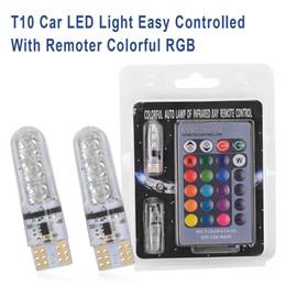 placa de licença remota Desconto 10X Luz Do Carro Colorido Silicone RGB LED 12 V 6SMD Acessórios Strobe T10 License Plate Aviso Da Lâmpada Com Controle Remoto Wedge lâmpadas