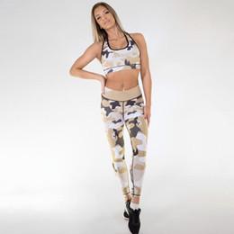 camuffamento all'ingrosso tuta Sconti Commercio all'ingrosso 2018 Nuovo Stile Camouflage Yoga Sport Donna Tuta Moda Printin Tempo Libero Donne 2 Pezzi Vestito Traspirante Signore Sudore Tute
