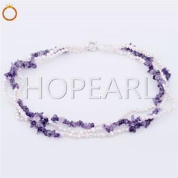 Pepitas de perlas online-Tres hilos de la pepita perlas blancas con amatista collar de perlas de agua dulce y la piedra natural de la joyería de 5 Piezas