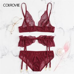 acee2f027 2019 conjuntos vermelhos sexy COLROVIE Red Floral Lace Garter Lingerie Sexy  Set Mulheres Intimates 2019 Moda