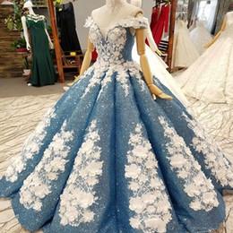 fabulosos vestidos de fiesta Rebajas Fascinante fabuloso vestido de fiesta Vestidos de quinceañera Lentejuelas llenas brillantes Flores hechas a mano Fuera del hombro Hasta el suelo Vestidos de novia de desfile