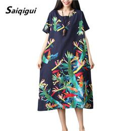Robe en lin à carreaux lâche en Ligne-Saiqigui 2019 mode été grande taille robe d'été à manches courtes femmes s'habillent décontracté Lâche Imprimer coton robe de lin robe o-cou robes