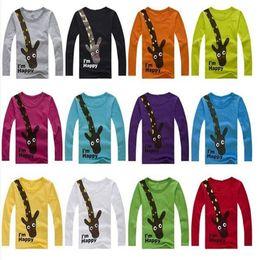 Jirafa bebe ropa niño online-7 colores Bebé niños niñas dibujos animados lindo jirafa imprimir camisetas de manga larga camiseta niños ropa 3-7T