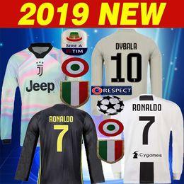 99f374983 2018 2019 JUVENTUS HOME Long sleeve Soccer Jerseys 18 19 JUVENTUS AWAY  7  RONALDO  10 DYBALA Thai top quality gray special Football Shirt gray soccer  jersey ...