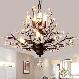 2019 iluminação ocidental vintage 8-luz de cristal Lustres Vintage teto Luzes LED Cristal Pingente iluminação de teto lustres de luminárias para sala de estar