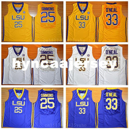 b5ff21ef1bc4 2019 ben simmons Pullover LSU Tigers College Yellow Purple White 33 O Neal Ben  Simmons
