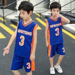 Camisas de futebol sem mangas on-line-Varejo 3-13Y grande conjunto de treino de crianças meninos ternos de futebol basquete jerseys 2 pcs sem mangas de secagem rápida roupas de basquete sportswear 50% de desconto