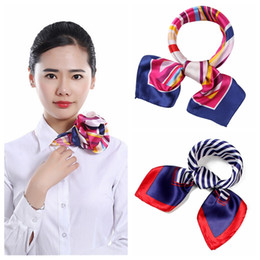 floral cotton square scarf Promo Codes - 142 styles Fashion Printing Small Scarf Women Girls Square Print Hotel Waiter Businessmen Mimic Silk Scarf Gift