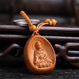 Canada Nouvelle arrivée chanceux bijoux pêche en bois sculpture boucle Bouddha pendentif porte-clés pour voiture sac porte-clés en gros cheap wholesale carved wood pendants Offre