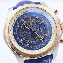 Relojes multipropósito online-Reloj multiusos para hombre 49MM Blue Skeleton Dial Reloj de pulsera para exterior Cronómetro de cuarzo Relojes para hombre duraderos con correa de cuero azul