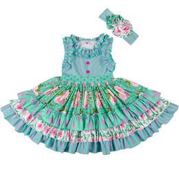f744568d333 Новое летнее платье для девочек Дети без рукавов в полоску с цветочным  принтом с рюшами Хлопковые платья с оголовьем Урожай пляжная детская одежда