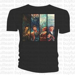 2019 magliette mediche Doctor Who Classic Mens T-shirt Alice X Zhang Quattro Dottori Mens maniche corte nera Tops Moda girocollo T-shirt Taglia S M L XL 2XL 3XL magliette mediche economici