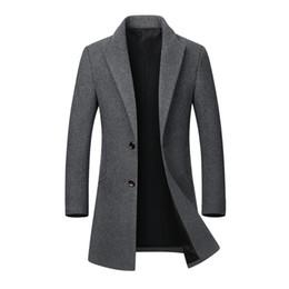 Canada Manteau d'hiver hommes long épais manteaux de laine mens col montant vestes décontractées erkek mont palto manteau manteau de laine manteau Parka 4XL cheap 4xl mens winter coats Offre