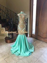 2019 élégantes robes de soirée de bal de sirène de menthe verte col haut piqué haut sans manche ? partir de fabricateur