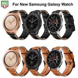 correas de reloj de cuero hechas a mano Rebajas Para Samsung Galaxy Watch Band Más reciente correa de línea hecha a mano de cuero genuino para Samsung Galaxy Watch 42mm 46mm S3 S2 Gear Sport