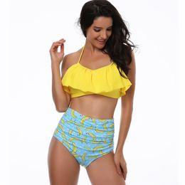 Esporte de casa on-line-Mulheres biquíni sexy biquíni cintura alta maiô, famosa moda casa desgaste, esporte flexível elegante, biquíni definido na praia no maiô