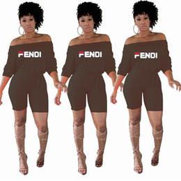 2019 esmoquin de 18 meses Mujeres FF Túnica mono pantalones cortos 2019 moda media manga plana Shouders mono del mono del verano del hombro corto Shorts Street Wear C5604