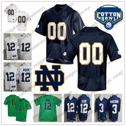47498d83cb1 Custom Notre Dame UND Football Any Number Name White Navy Blue Green #8  Jafar Armstrong 83 Chase Claypool Montana Book 2019 NCAA Jersey