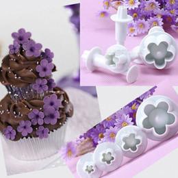 Conjuntos de émbolo de la flor online-4 unids / set Plum Flower Plunger Mould Cutter Fondant Sugarcraft Cake Cookie Émbolo Cake Molde Herramienta de decoración de hornear Accesorios 60 Sets DHL
