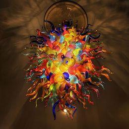 2019 bricolagem suspensão lâmpada pendente Multi Color Handmade Blown vidro Murano lustre de luxo colorido do teto LED luzes decorativas E14 Modern Art Glass Lighting Chandelier