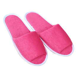 Chinelos convidados on-line-Hot Sale-Men Women Spa Portable Indoor House Foldable Hotel Solid Travel Guest Soft With Storage Bag Breathable Non Disposable Slippers