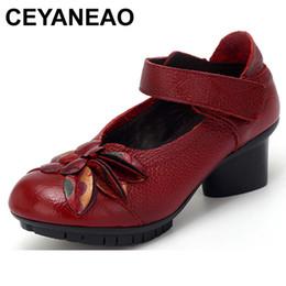 Fleur talons chaussures vintage en Ligne-CEYANEAOBeauty Style Populaire À La Main D'origine Vintage Fleur Femmes ChaussuresMin Talons VéritablePompes En Cuir Lady Rétro Chaussures Douces E1924