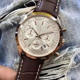 Мужские часы коричневый ремешок онлайн-2018 Новый стиль роскошные мужские часы 46 мм циферблат коричневый кожаный ремешок мужские часы Transocean хронограф кварцевые часы