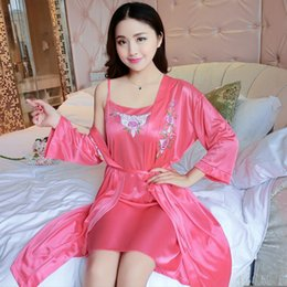 2PCS Sexy Silk Satin Night Dress for Women 2019 Summer Floral Lingerie  Nightdress Robes Sleepwear Femme Two Piece Set Nightgowns bc552d2d7