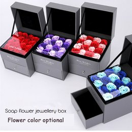 artificial jewelry wedding Promo Codes - Soap Flower Jewelry Box Set Artificial Rose Romantic Valentine's Day Wedding Mother's Day Festival Creative High Grade Gift Rose DBC DH1277