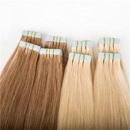 Grade 8A Pu Tape In brasiliani estensioni dei capelli umani Diritto nastro Marroni Colore In 40pcs estensioni / pack del nastro di Remy nelle estensioni dei capelli da estensioni dei capelli gialli blu fornitori