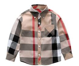 2019 mädchen sammelte taschenhemden Heißer Verkauf Plaid Shirts Kind Kind Jungen Mädchen Langarm Tasten Tasche Tops Shirt Umlegekragen Bluse Lässig günstig mädchen sammelte taschenhemden