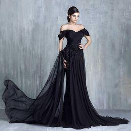 2019 Новый Тони Chaaya Кружева Аппликация Бисер Вечерние платья с открытыми плечами без рукавов вечерние платья Sweep Поезд вечернее платье от