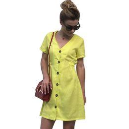 Canada 2019 femmes d'été robe chemise à manches courtes avec bouton couleur unie élégantes robes coréennes de mode formelle nouvelle arrivée dames robe cheap elegant summer shirts Offre