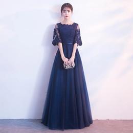 Vestidos de fiesta de invierno online-Por encargo elegante Invierno Negro vestidos de noche de encaje medio de la manga del traje de soirée largo Vestido de Fiesta Longo